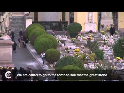 Pope Francis prays for the dead