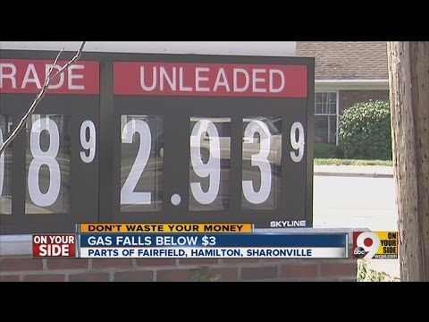 Gas prices drop below $3.00 per gallon