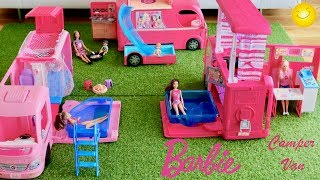 Barbie Camper Van Collection! 3 Barbie Campers Barbie Dolls go camping pretend play Dolls play