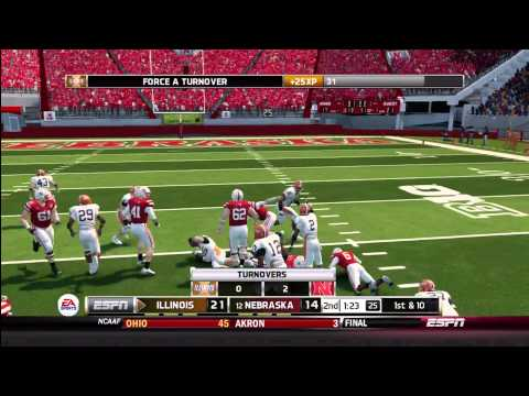 NCAA Football 14 Gameplay: Illinois Fighting Illini vs. Nebraska Cornhuskers (Xbox 360)