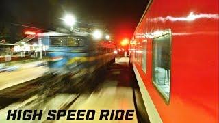 "On board ""Sealdah Rajdhani Express"" 🚅🚝🚝 Parallel race, Overtakes, Speedy skips & Kanpur arrival"