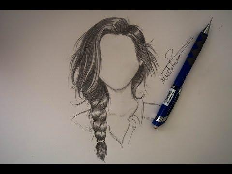 رسم الشعر بالرصاص بتسريحة الظفيرة