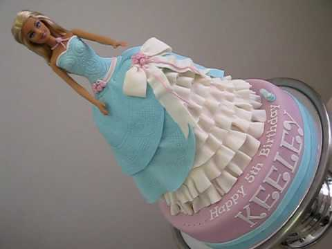 Party Dress on Barbie Cinderella Princess Doll Cake  For How To Make My Doll Cakes Go