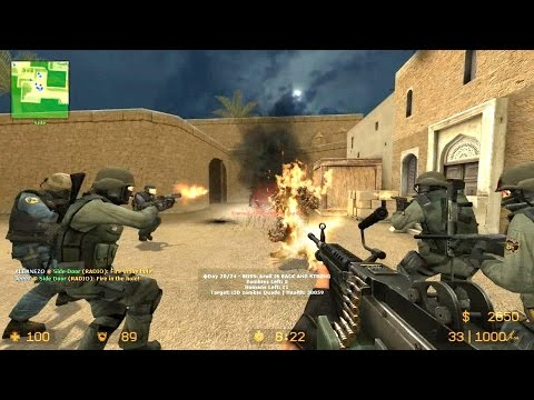 Counter Strike Source Zombie Riot mod multiplayer gameplay on Dust 2 map