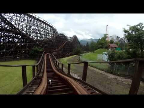 Jupiter Wooden Roller Coaster POV Kijima Amusement Park Beppu Japan HD 1080