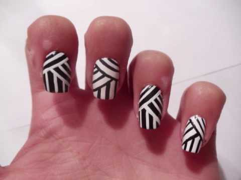 Weaving Lines Nail Art Design YouTube - Cutenailsart: Weaving Lines Nail Art Design/black And White - Nail