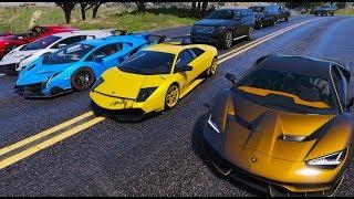 GTA 5 - Hội con nhà giàu tụ tập lấy siêu bò Lamborghini đi phượt xa | ND Gaming