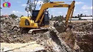 Máy xúc mini đào đất làm việc , Máy cẩu ,xe tải | Nhạc thiếu nhi vui nhộn cho bé