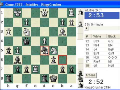 Chessworld.net : Blitz #275 vs. Intuitive (2401) - French Defense : exchange variation (C01)