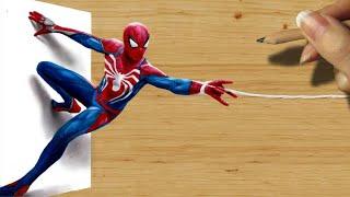 3D Pencil Drawing: Spider-Man in PlayStation 4 Video Game PS4 - Speed Draw | Jasmina Susak