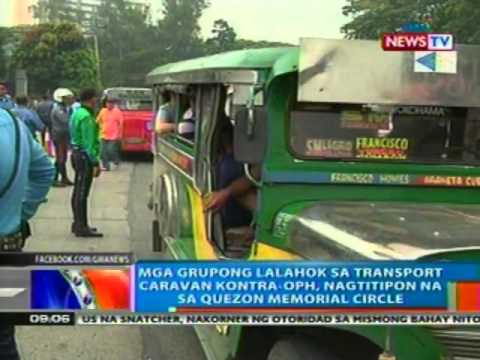 NTG: Mga grupong lalahok sa transport caravan vs OPH, nagtitipon na sa QC Memorial Circle (031512)