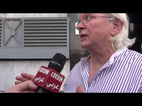 Gaza Peace delegates in front of French Consulate in Cairo/BBC interview
