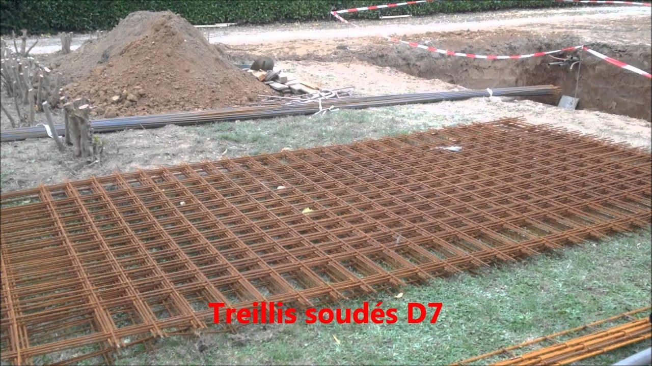 Ferraillage piscine 1 montage des u ma onnerie martinez - Panneau treillis soude pour dalle de beton ...