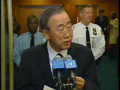 Ban Ki-moon back at UN Headquarters speaks to the Media