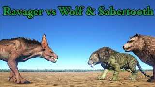 Ravager vs Direwolf, Sabertooth and Purlovia! || ARK Aberration || Cantex