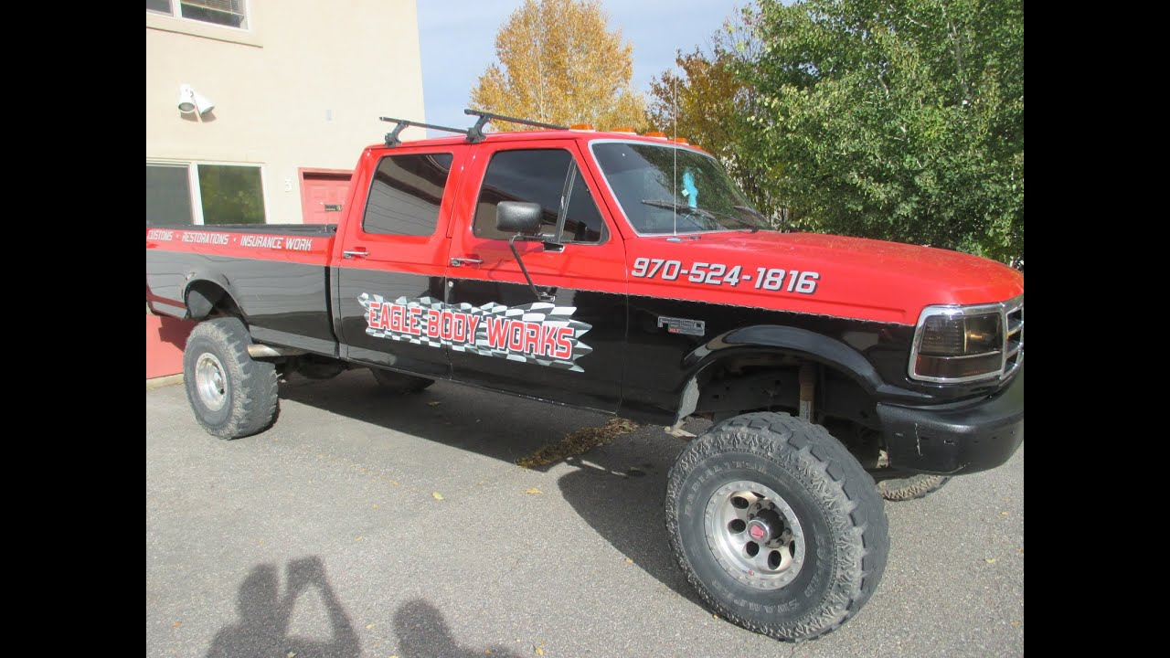 Jt Auto Sales >> 1994 Ford F-350 4X4 crew cab for sale - Red, lifted, super swampers, 460, 5-speed, one loud ...