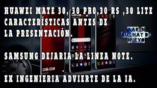 Huawei Mate 30, 30 Pro, 30 RS, 30 Lite especificaciones.