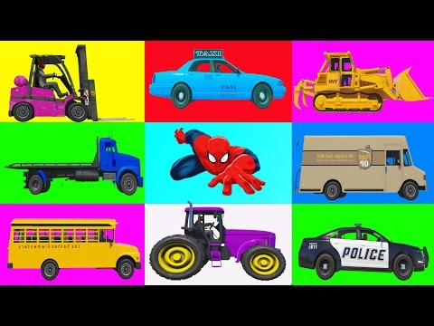 Learn street vehicles for Kids l Police car & Bulldozer With Spiderman cartoon for kids