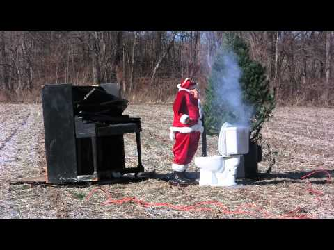 Santa Hit with Toilet Lid