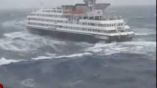 Onda gigante atinge navio de cruzeiro no Atlântico