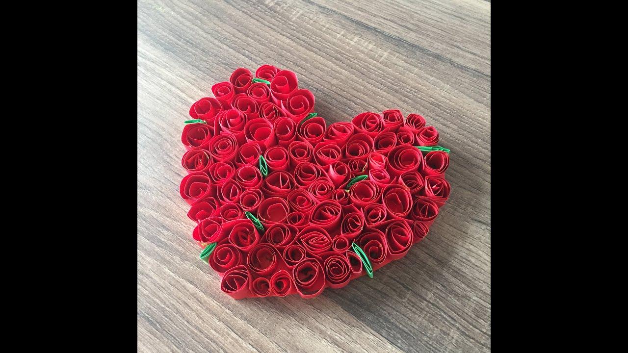 DIY Rosenherz basteln, für Valentinstag oder Muttertag ein Herz ...