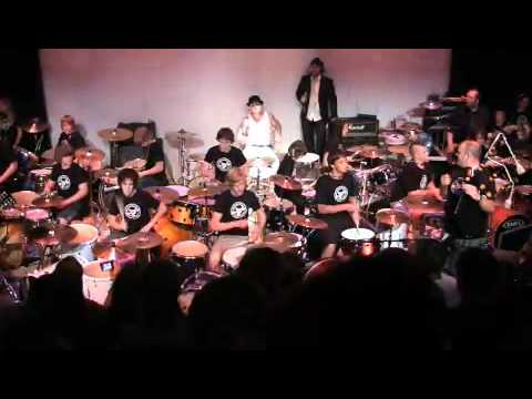 """Finale song of the """"Hatchman Drum Corps - Clown Doctors Charity Show"""" - Long Way To The Top with 30 drum kits playing on the 10th November Playhouse Theatre."""