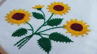 Hand Embroidery Sunflower Design By Nakshi Kantha World