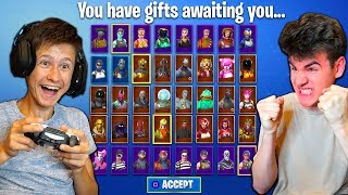 IF LITTLE BROTHER WINS THIS FORTNITE GAME I WILL GIFT HIM 1,000 SKINS!