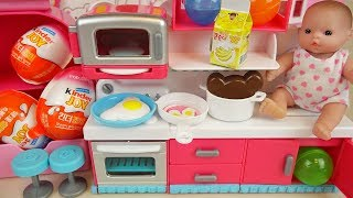 Baby doll kitchen and surprise eggs Kinder joy toys play
