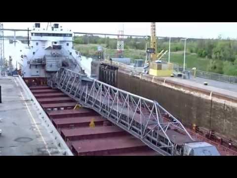 Ship CSL LAURENTIEN raised at Lock 3, Welland Canal