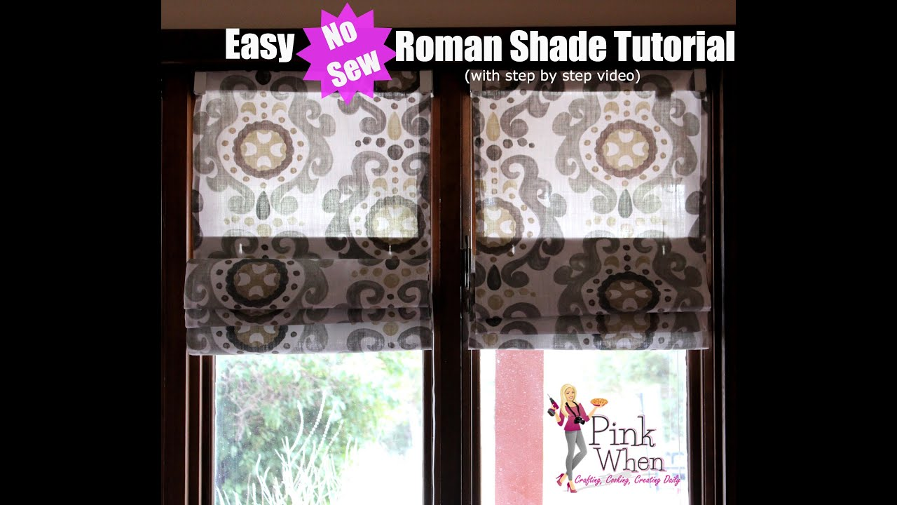 diy no sew roman shades video tutorial youtube. Black Bedroom Furniture Sets. Home Design Ideas