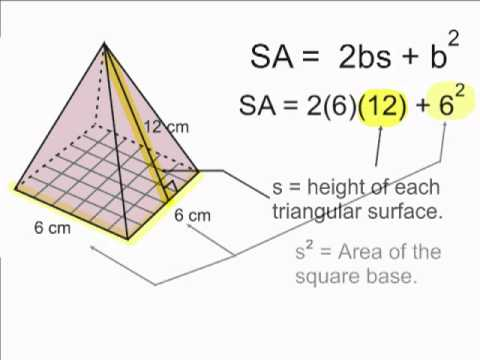 Surface Area Of A Square Pyramid Youtube
