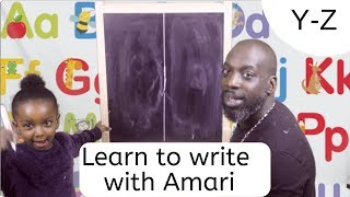 How to Teach Toddler to write easy fast simple. Alphabet Uppercase letters. Y  - Z