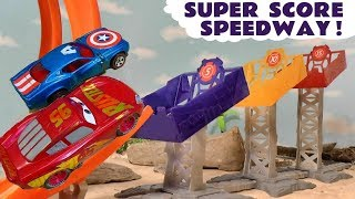 Disney Cars Toys McQueen race Hot Wheels Marvel Avengers vs DC Superheroes with funny Funlings TT4U