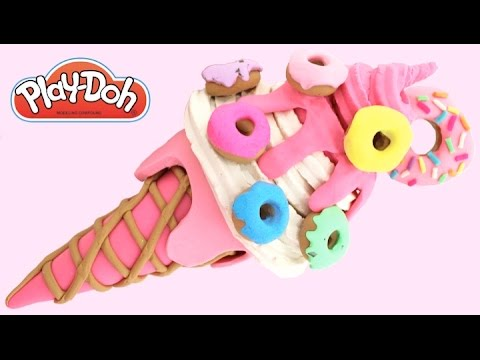 Play-Doh How to Make a Mini Donut Ice Cream * Play Dough Art * Creative For Kids * RainbowLearning
