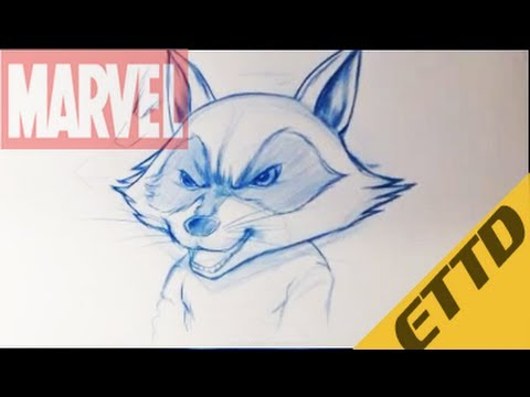 How to Draw Rocket Raccoon from Guardians of the Galaxy - Easy Things To Draw - YouTube Raccoon Drawing Easy