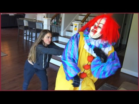 Scary Clown Gets Pushed To The Floor By Girl While Riding Scooter