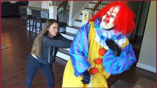 Scary Killer Clown Gets Pushed To The Floor By Girl While Riding Scooter