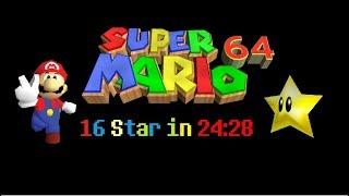 Super Mario 64 16 Star in 24:28.79