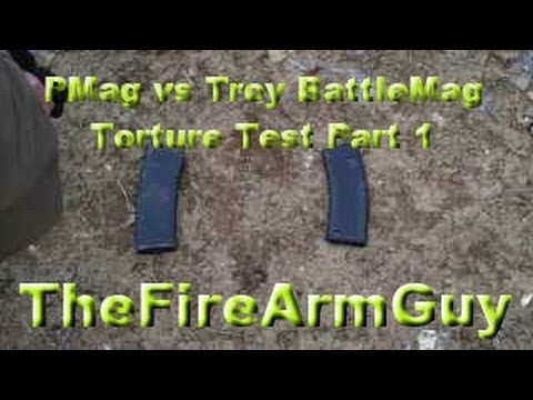 Torture Test - Magpul Pmag VS Troy Battlemag - TheFireArmGuy