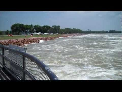 Churning Missouri River and Spillway, Yankton, July 10, 2011
