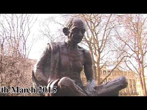 Mahatma Gandhi Statue in Parliament Square London 2015