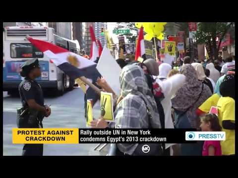 Rally outside UN in New York condemns Egypt's 2013 crackdown