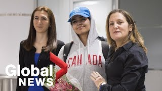 Chrystia Freeland welcomes Saudi teen fleeing abusive family to Canada