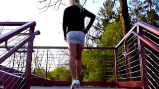 Lily TG - Walking Stairs in Tight Mini Skirt, White Heels, STW Pantyhose