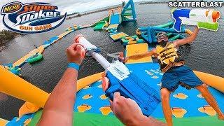 NERF GUN GAME SUPER SOAKER EDITION! Worlds Biggest Water Park