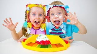 Gaby and Alex playing Pie Face Showdown another Funny Game for Kids
