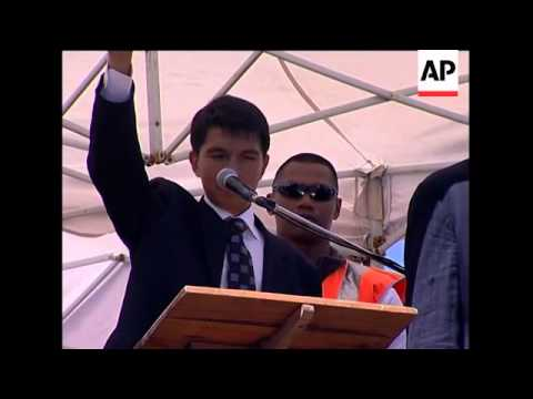 Opposition leader Andry Rajoelina addresses rally