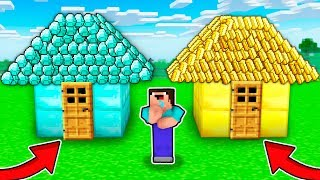 WHICH Treasure Minecraft HOUSE NOOB Choose? DIAMOND House vs GOLD House!