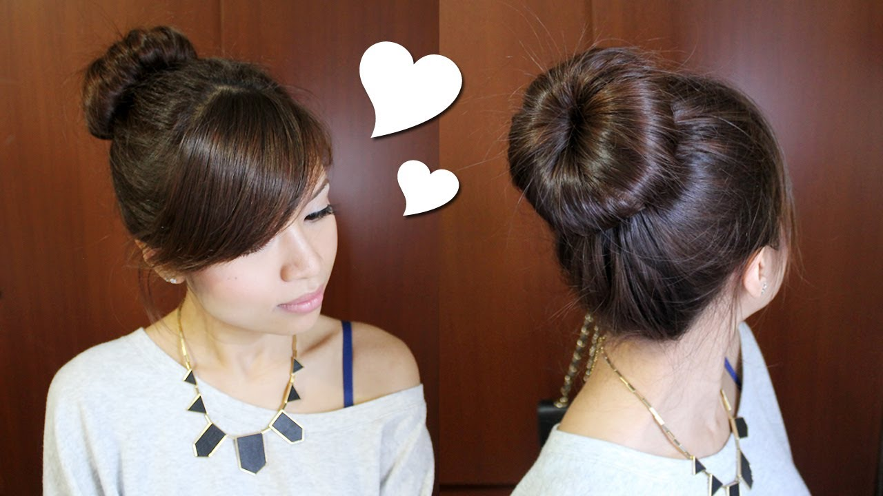 ... Perfect Bun Updo Hairstyle for Medium Long Hair Tutorial - YouTube